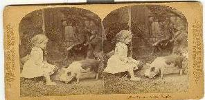 STEREOVIEW - CHILD AND PIGGIE