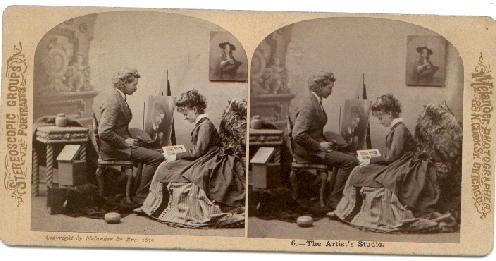 OLD STEREOVIEW - THE ARTIST'S STUDIO
