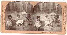 CHILDREN AND PUPPIES - STEREOVIEW