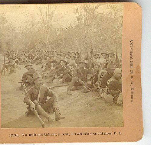 VOLUNTEERS TAKING A REST, LAWTON'S EXPEDITION, P.I. STEREOVIEW