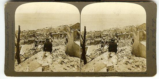 DESOLUTE RUINS OF ST. PIERRE - STEREOVIEW