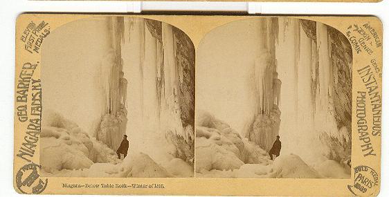 STEREOVIEW - NIAGARA, BELOW TABLE ROCK - WINTER OF 1893