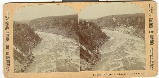 STEREOVIEW - NIAGARA, WHIRLPOOL RAPIDS FROM STEEL ARCH BRIDGE