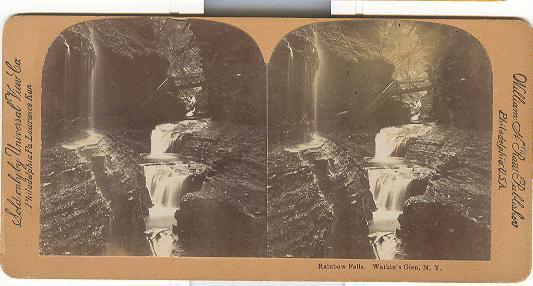 STEREOVIEW - RAINBOW FALLS.  WATKIN'S GLEN, N.Y.