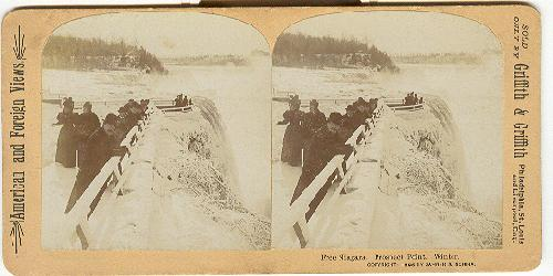 STEREOVIEW - FREE NIAGARA.  PROSPECT POINT.  WINTER