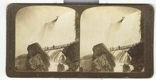STEREOVIEW - ROCK OF AGES AND LUNA FALLS, NIAGARA FALLS, U.S.A.