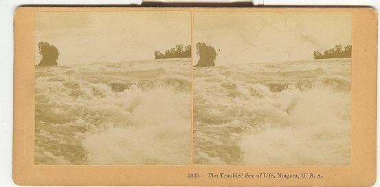 STEREOVIEW - THE TROUBLED SEA OF LIFE, NIAGARA, U.S.A.