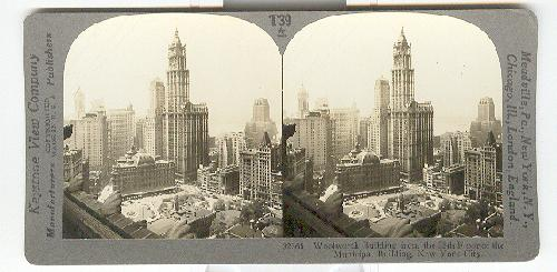 STEREOVIEW - Woolworth Building From the 25th Floor of the Municipal Building, New York City
