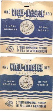 TWO HAND-LETTERED VIEWMASTER REELS - MEXICO & BOLIVIA