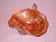 CARNIVAL GLASS DOUBLE HANDLE BUTTERFLY MOTIF DISH