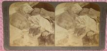 STEREOVIEW - GIRL SLEEPING WITH HER DOLL & CAT