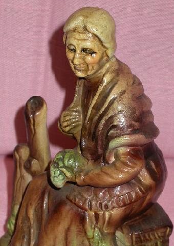 HANDPAINTED OLD WOMAN FIGURINE