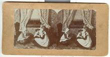 STEREOVIEW - LITTLE VICTORIAN GIRLS PLAYING WITH DOLLS