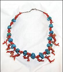 NATIVE AMERICAN TURQUOISE AND CORAL CHOKER