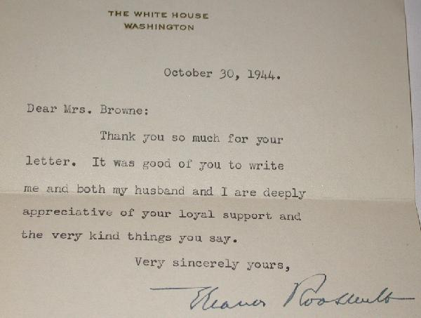 SIGNED LETTER FROM ELEANOR ROOSEVELT