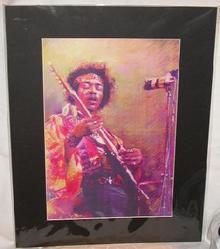 JIMI HENDRIX  IN CONCERT  - MATTED ART PRINT
