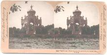 BEAUTIFUL HAND COLORED STEREOVIEW  -  PAGODA AT FOREST PARK ST. LOUIS