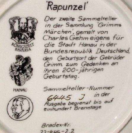 GRIMM FAIRY TALES COLLECTOR PLATE -