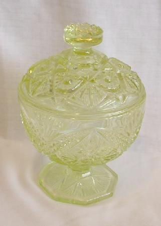 YELLOW PRESSED GLASS  COMPOTE ON PEDISTAL