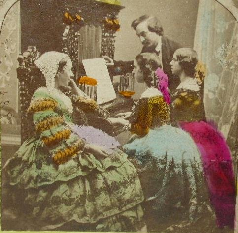 OLD HAND COLORED STEREOVIEW