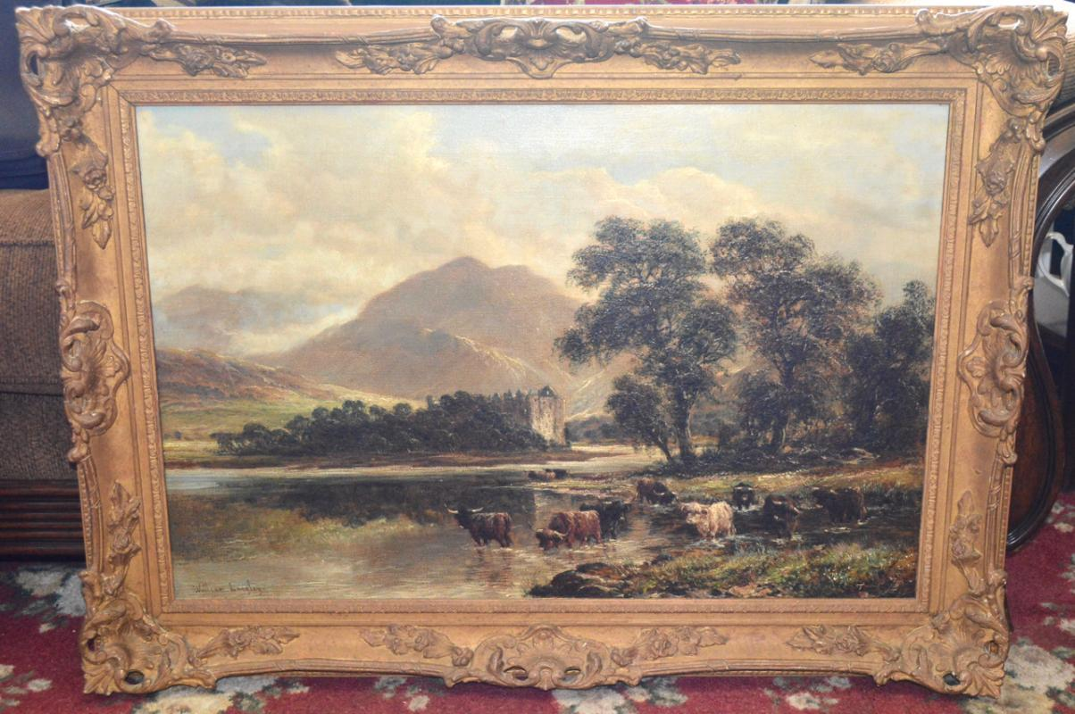 WILLIAM LANGLEY - OIL ON CANVAS IN BEAUTIFUL ORNATE FRAME