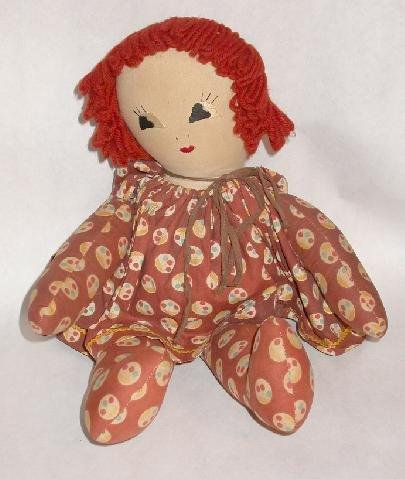 HAND MADE CLOTH DOLL WITH STITCHED FACE