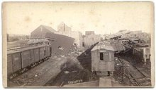 1883 TRAIN YARD CABINET PHOTO - CYCLONE AT ROCHESTER, MINN