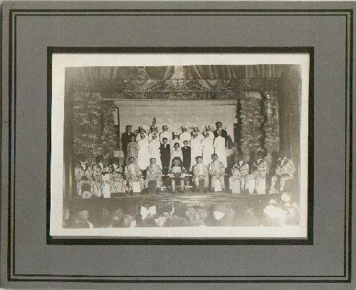 MINSTREL SHOW CAST PHOTO WITH BLACK FACE PERFORMERS