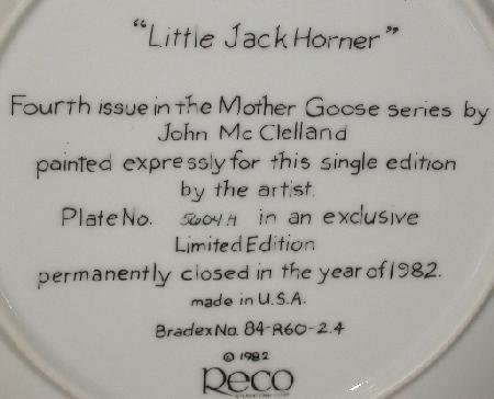 MOTHER GOOSE COLLECTOR PLATE -