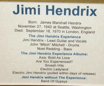 JIMI HENDRIX  - MATTED BIOGRAPHY ART