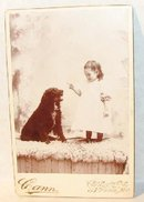 RARE CABINET PHOTO - A GIRL AND HER DOG