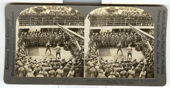 A FRIENDLY BOUT AMONG OUR BOYS, ON TRANSPORT RETURNING FROM FRANCE WWI- STEREOVIEW