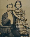 FATHER AND DAUGHTER - 1860s TINTYPE PHOTOGRAPH