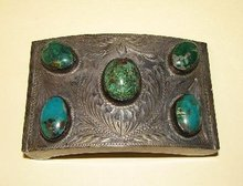 SILVER AND TURQUOISE BELT BUCKLE