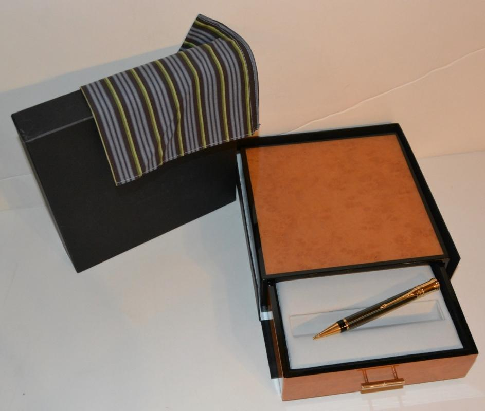 Parker - Duofold Chocolate Pinstripe Mechanical Pencil in Birdseye Maple Box