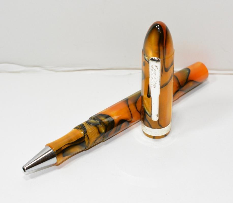 Conklin Nozac Rollerball - Swirled Orange/Black Pearlized