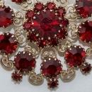 Beautiful Ruby Red Rhinestone Brooch by WEISS