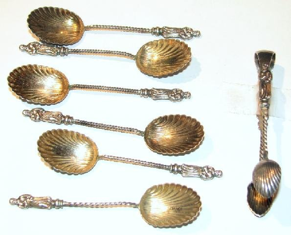 ENGLISH HALLMARKED STERLING SPOONS AND SUGAR CUBE TONGS