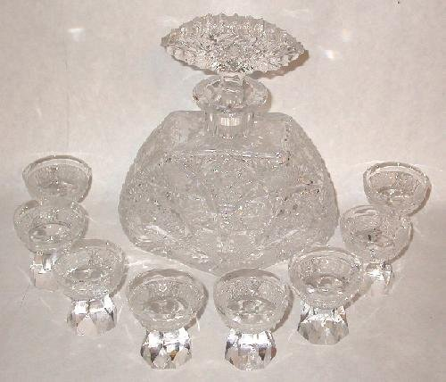 KUSAK - CUT GLASS CRYSTAL DECANTER AND 8 GLASSES