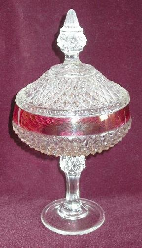 RUBY FLASHED ROUND COVERED CANDY DISH ON A PEDISTAL