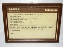 100TH BIRTHDAY TELEGRAM - FROM GROUCHO MARX