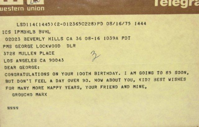 100TH BIRTHDAY TELEGRAM - FROM GROUCHO MARX