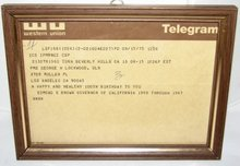 100TH BIRTHDAY TELEGRAM -  FROM GOVERNOR EDMOND G. BROWN