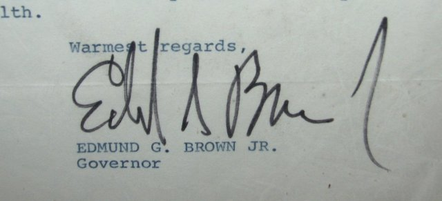 100TH BIRTHDAY BEST WISHES LETTER FROM GOVERNOR EDMUND G. BROWN