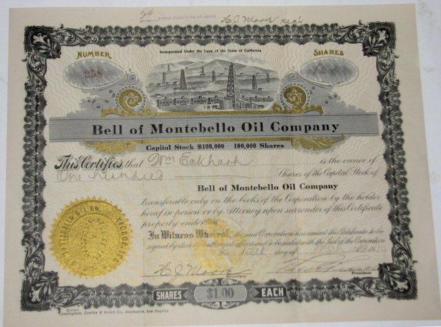 BELL OF MONTEBELLO OIL COMPANY - STOCK CERTIFICATE