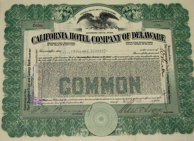 CALIFORNIA HOTEL COMPANY OF DELAWARE - STOCK CERTIFICATE