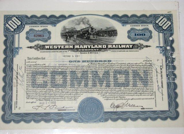 WESTERN MARYLAND RAILWAY COMPANY - STOCK CERTIFICATE