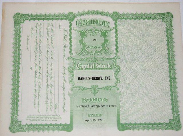 BARCUS-BERRY, INC. - STOCK CERTIFICATE