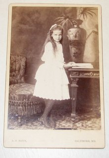 Angelic Young Girl in Beautiful White Dress, Baltimore - CABINET CARD