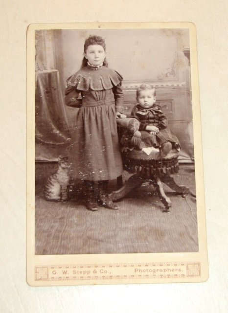 Portrait of Siblings and a Cardboard Cat - CABINET CARD
